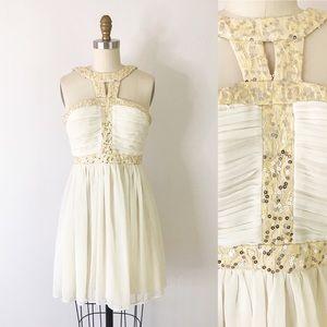 Modcloth Cream White Sequin Chiffon Dress Mini S/M